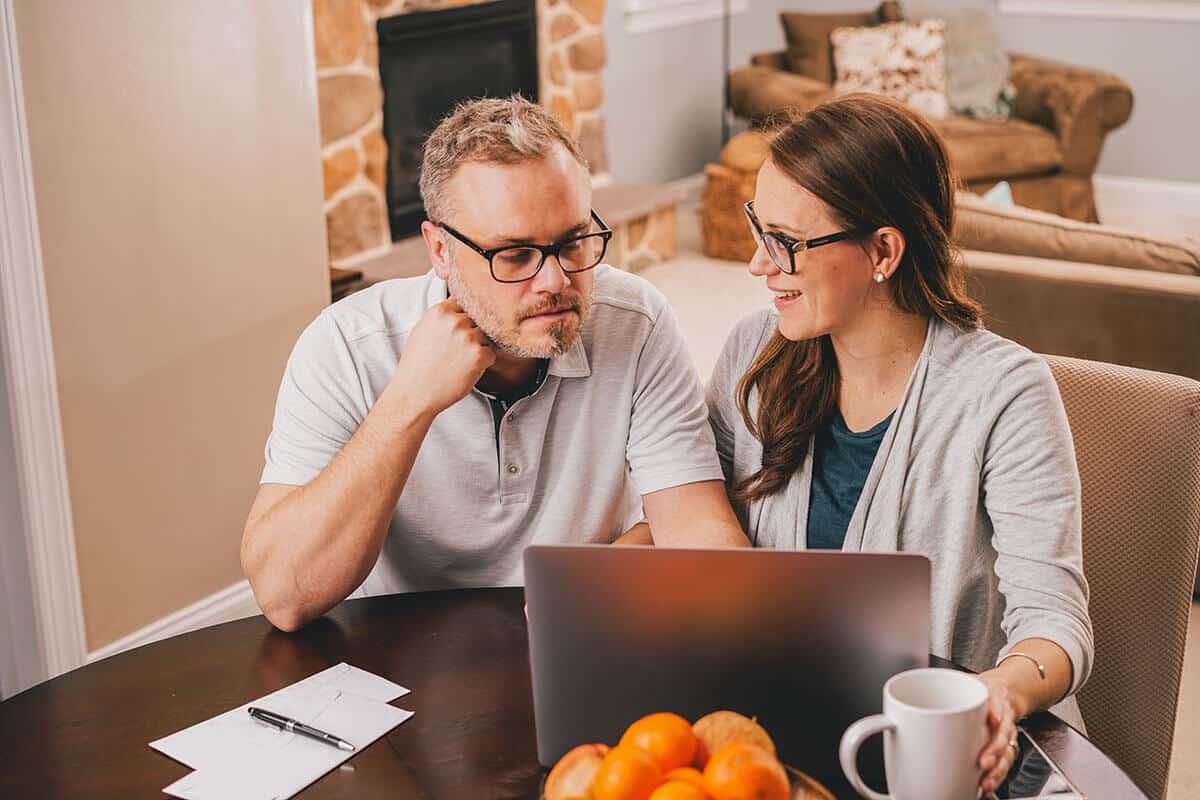couple reviewing finances and retirement plans